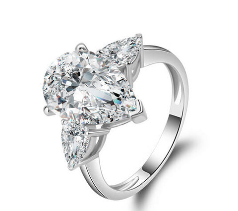 3ct pear cut diamond engagement ring - MOWTE