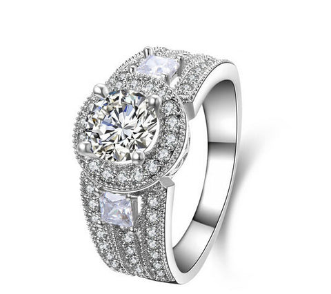 1CT round cut three stones sona diamond silver ring - MOWTE