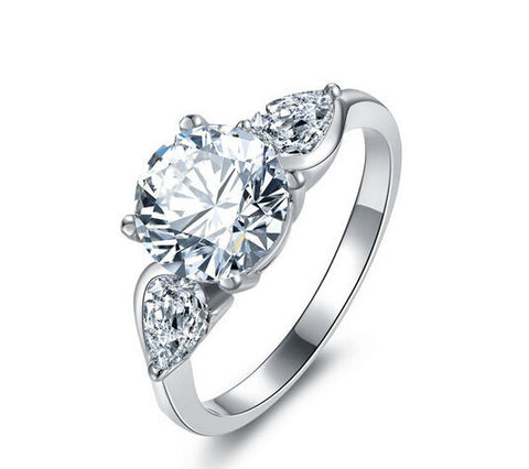 2ct round cut diamond engagement ring - MOWTE