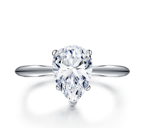 3ct pear cut diamond wedding ring - MOWTE