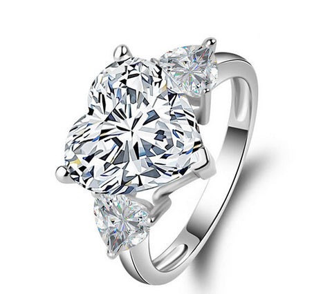 3ct heart cut diamond love engagement ring - MOWTE