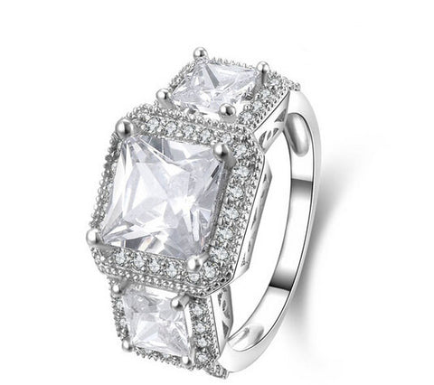 3ct princess cut diamond engagement ring - MOWTE