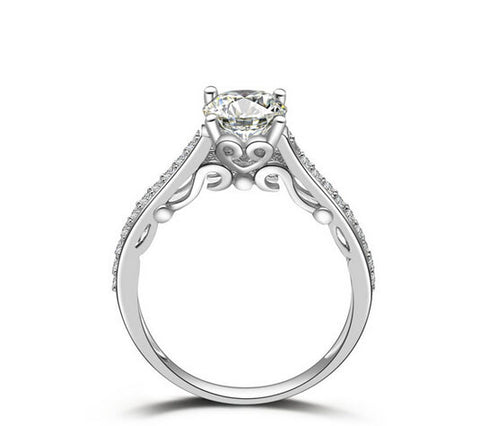 1CT round cut diamond engagement ring - MOWTE