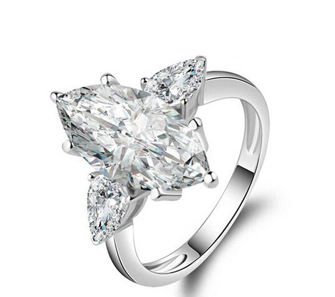 New fashion 3CT marquise cut silver diamond engagement ring