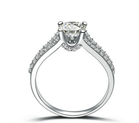 1CT round cut silver diamond engagement ring - MOWTE