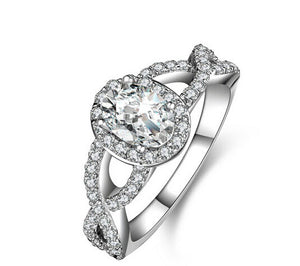 Oval cut diamond twisted band engagement ring - MOWTE