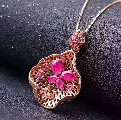 Natural ruby 925 sterling silver butterfly pendant - MOWTE