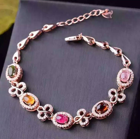 Colorful candy tourmaline silver bracelet