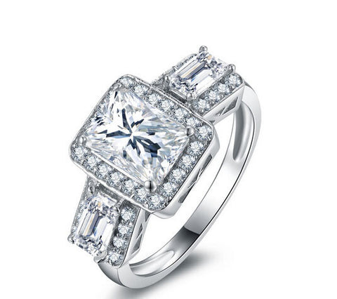 3pcs princess cut diamond engagement ring - MOWTE