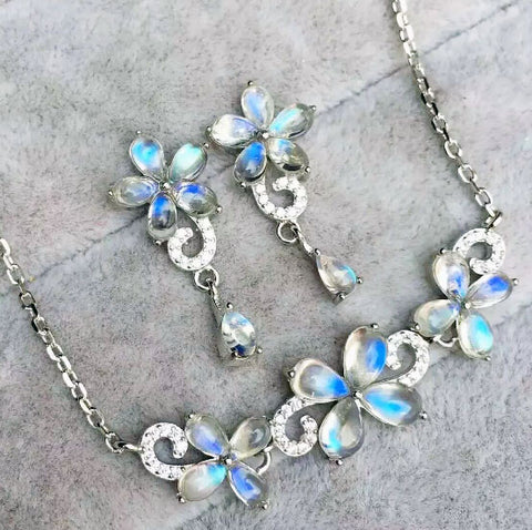 Fashion blue moonstone silver sets