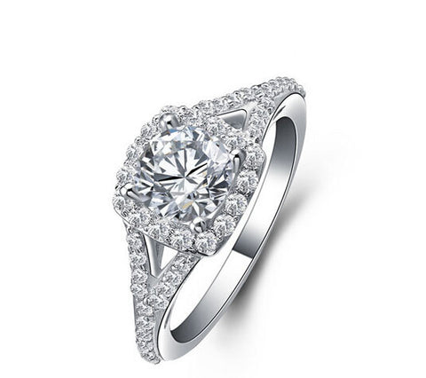 Round cut diamond engagement ring - MOWTE