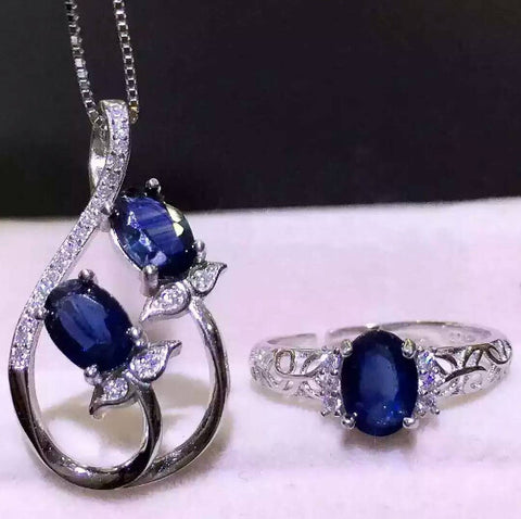Fashion genuine sapphire sterling silver ring &necklace - MOWTE