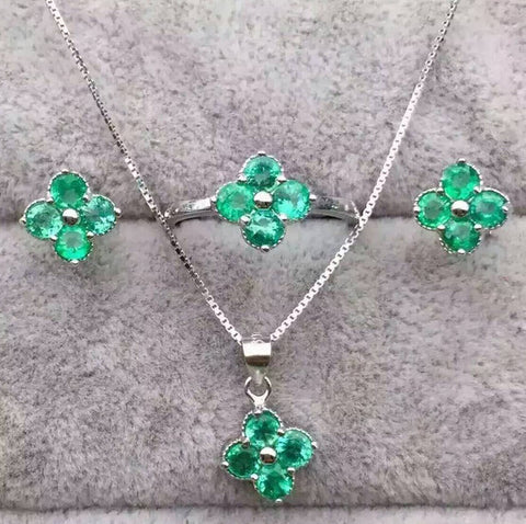 Fashion emerald silver sets