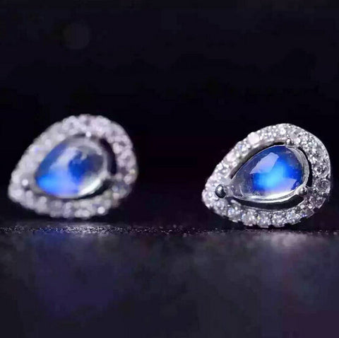 Fashion blue moonstone silver studs - MOWTE