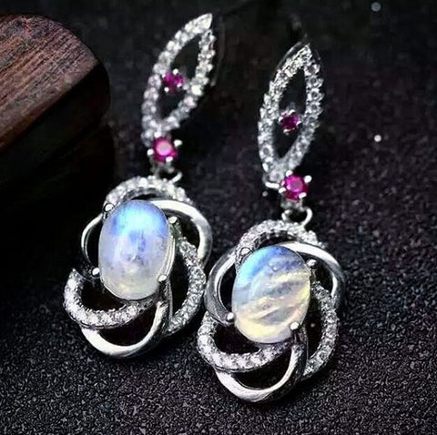 Fashion blue moonstone dangle silver earrings - MOWTE