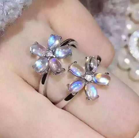 Fashion blue moonstone flower silver free size ring - MOWTE