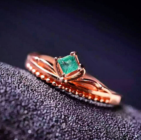 Cute natural silver green emerald ring - MOWTE