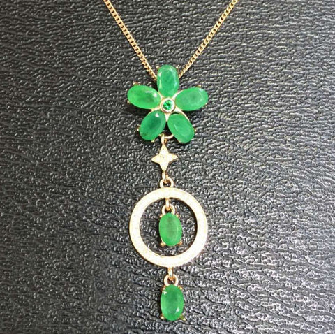 Luxury natural green emerald flower silver necklace