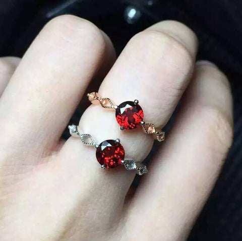 Fashion garnet silver free size ring