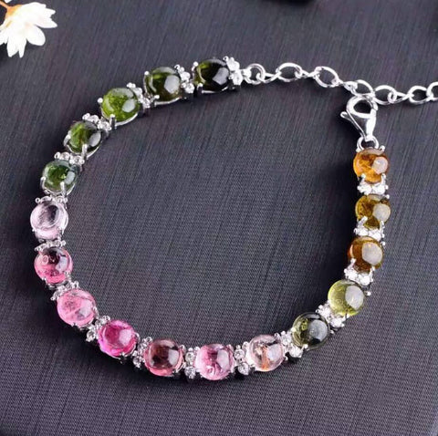 Fashion natural tourmaline silver bracelet