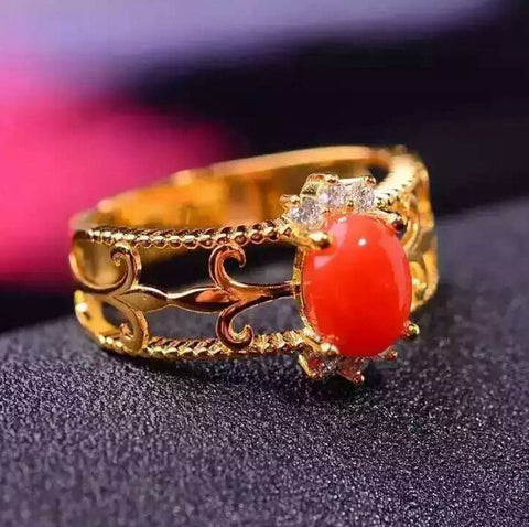 Vintage red coral 925 stetling silver free size ring