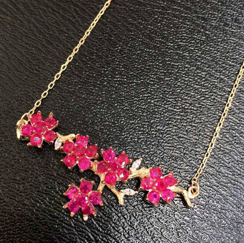 Natural ruby 925 sterling silver flower necklace - MOWTE
