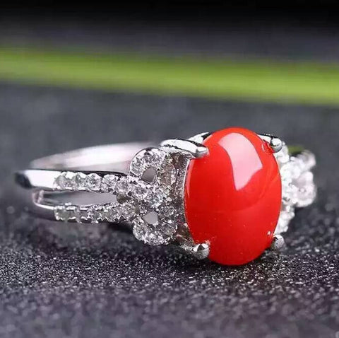 Natural red coral 925 stetling silver free size ring