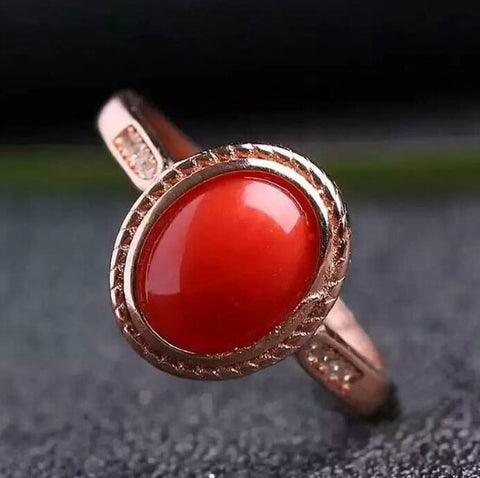 Natural red coral 925 stetling silver free size ring - MOWTE