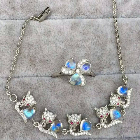 Fashion blue moonstone silver sets - MOWTE