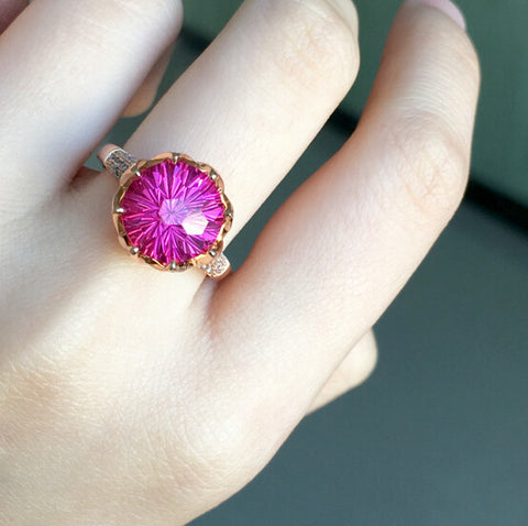 Pink topaz sterling silver free size ring - MOWTE