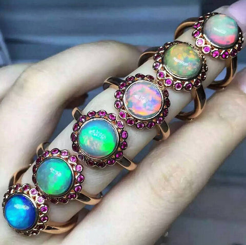Natural opal silver free size ring - MOWTE