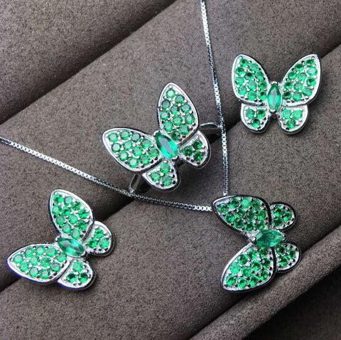 Fashion natural emerald butterfly sterling silver jewelry set