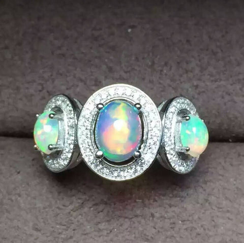 Colorful natural 3pcs opal sterling silver ring