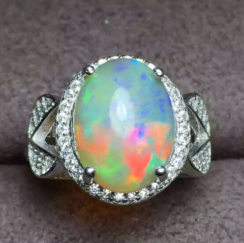 Colorful natural huge opal sterling silver free size ring - MOWTE