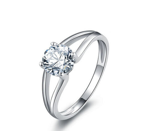 Round cut diamond love engagement ring - MOWTE