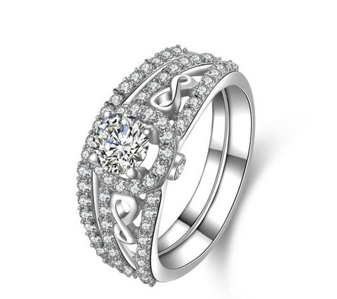 1CT round cut 2 piece bands  diamond ring set - MOWTE