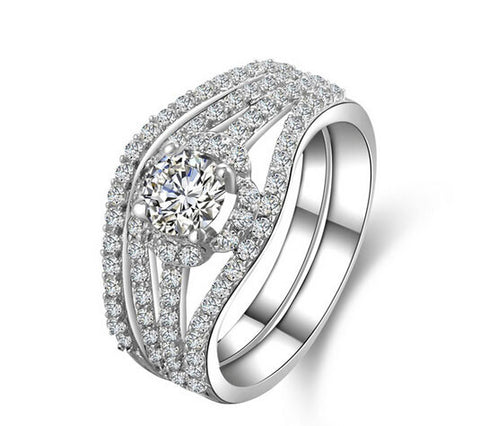 1CT round cut 2 piece bands diamond engagement ring set - MOWTE