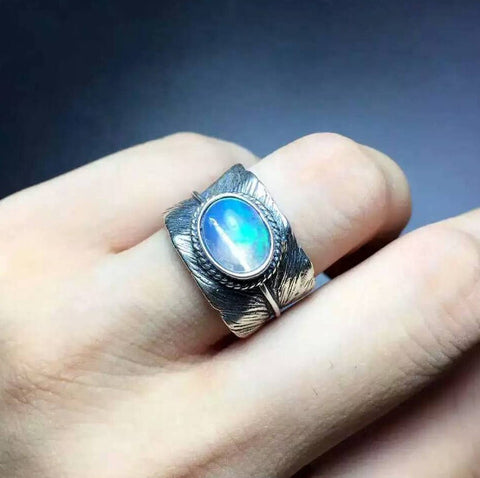 Natural huge opal sterling silver free size ring - MOWTE