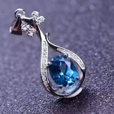 Fashion natural blue topaz sterling silver necklace - MOWTE
