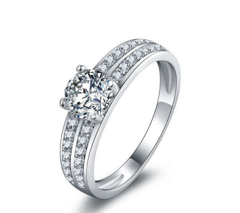 1CT fashion round cut wedding diamond silver ring - MOWTE