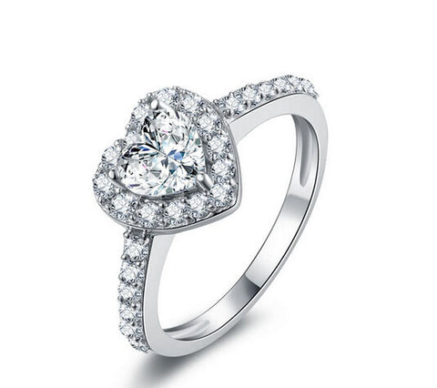 Heart cut 1ct fashion diamond silver engagement ring - MOWTE