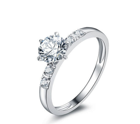 Fashion round cut promise diamond silver ring - MOWTE