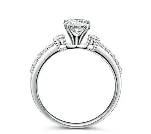 1CT round cut diamond promise engagement ring - MOWTE