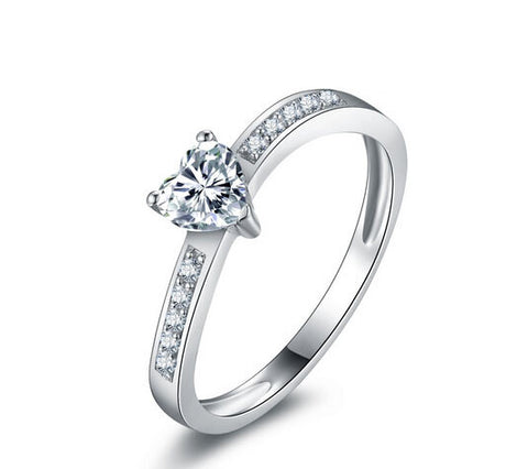 Heart cut 1ct fashion diamond silver love ring - MOWTE