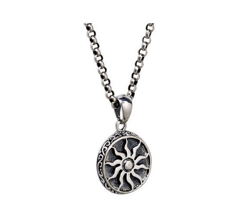 Men's elegant vintage sterling silver sun pendant & necklace