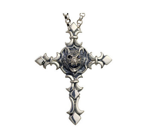 Men's unique sterling silver bat cross pendant & necklace - MOWTE