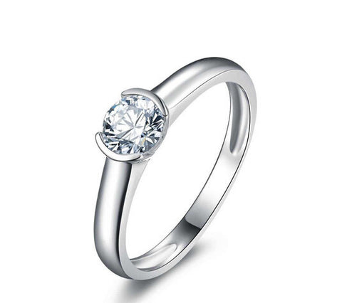 Fashion round cut diamond silver ring - MOWTE