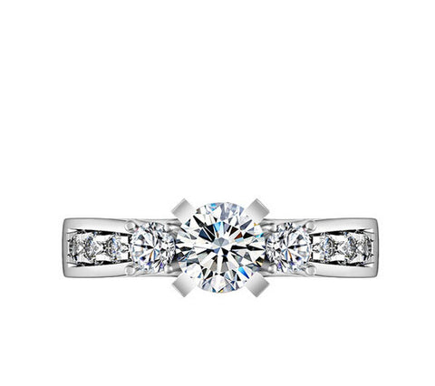 1CT fashion Three stone round cut diamond silver ring - MOWTE