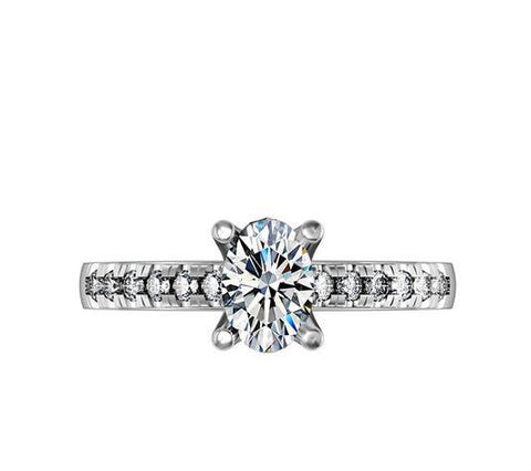 1CT oval cut diamond engagement ring - MOWTE