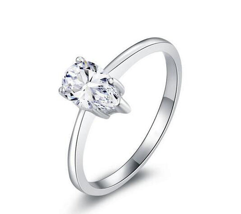 1ct pear cut diamond wedding ring - MOWTE